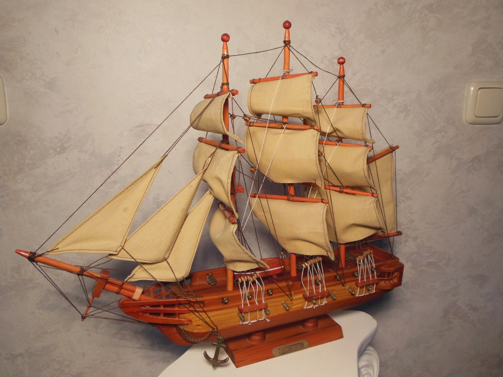 Beautiful handmade wooden model of the American sailing ship warship USS Constitution.