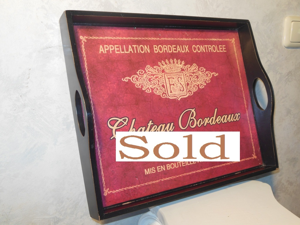 Beautiful wooden red tray with marks from the Bordeaux castle.
