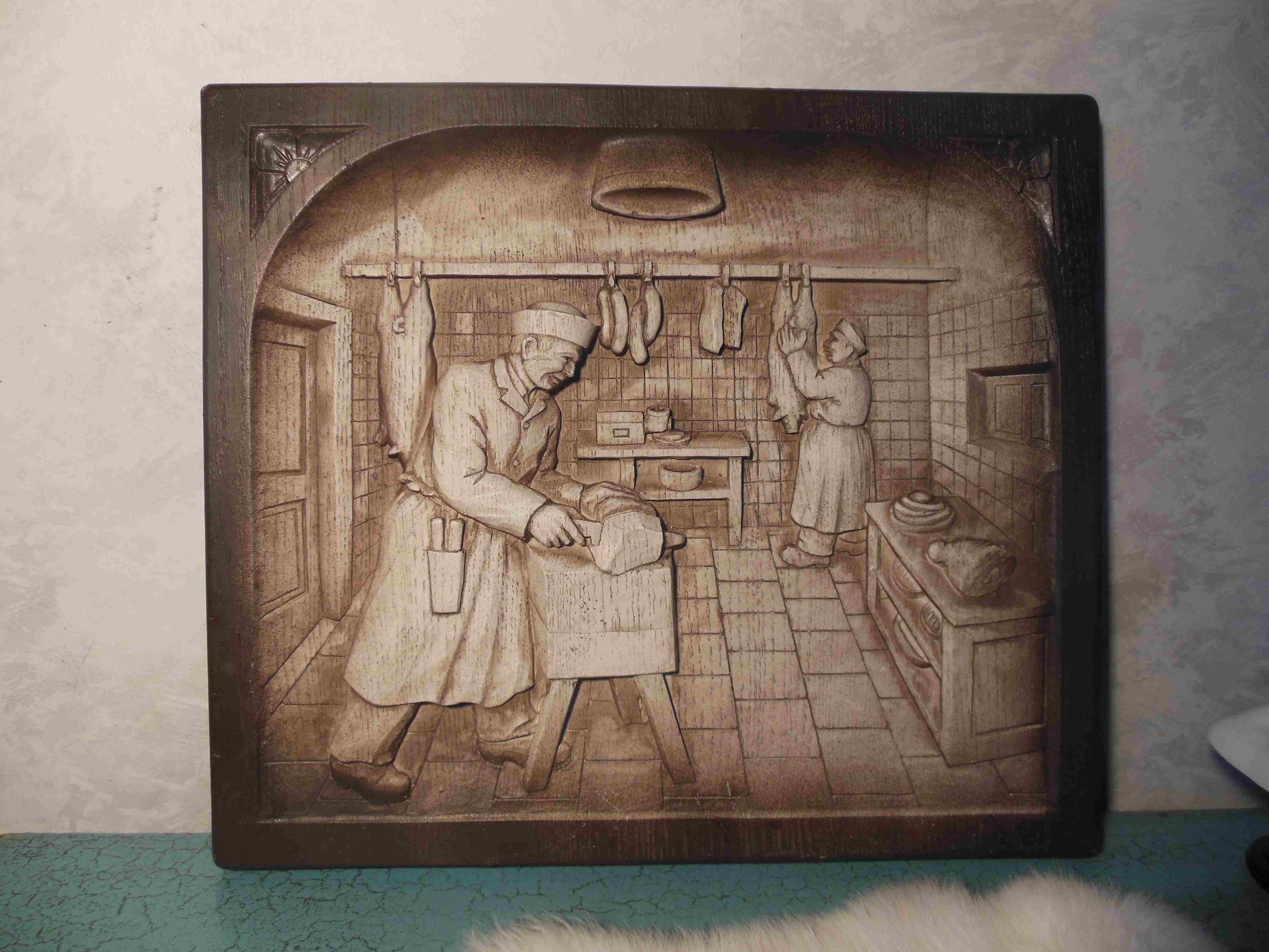 Beautiful stylized plate with 3D image of butcher shop by W. Sylvan.