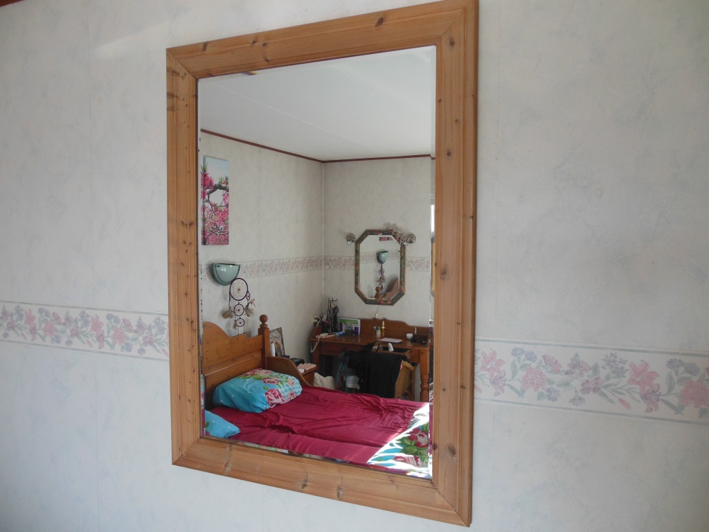 Blank pine mirror with cut glass.